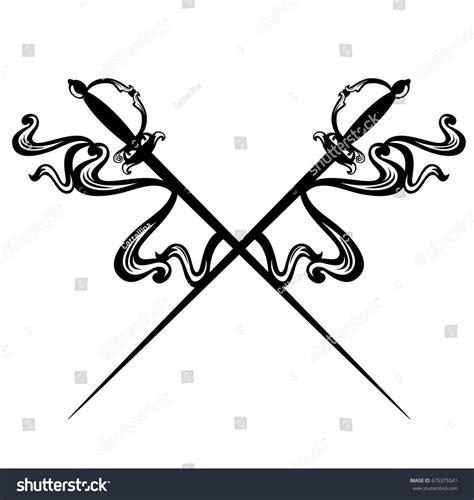 vsa tattoo logo crossed epee swords decorative ribbons black stock vector