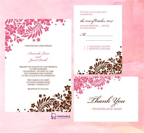 Wedding Enclosure Cards Free Template by Invitations Blank Wedding Invitations Wedding