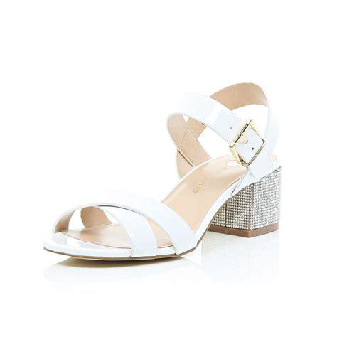 sandals with block heel river island white rhinestone block heel sandals in white