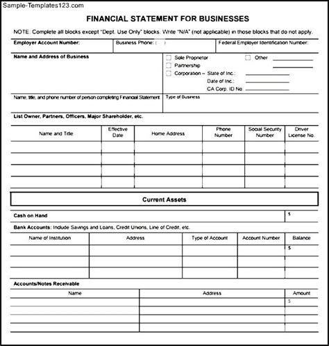 Financial Statement Form Template business financial statement form pdf sle templates
