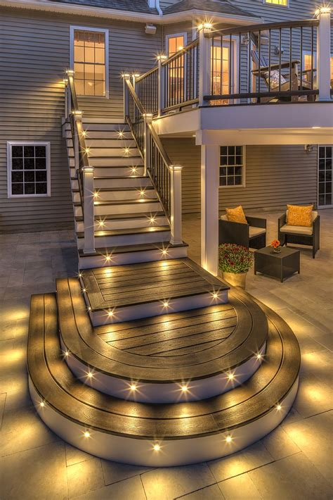 Patio Deck Lighting Into The With Trex Outdoor Lighting Our Deck Lights And Stair Riser Lights