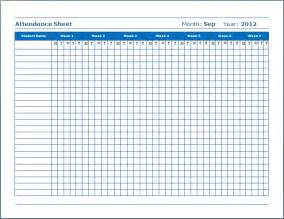 Simple Attendance Sheet Template by Simple Attendance Sheet Template Sle With Blue Color