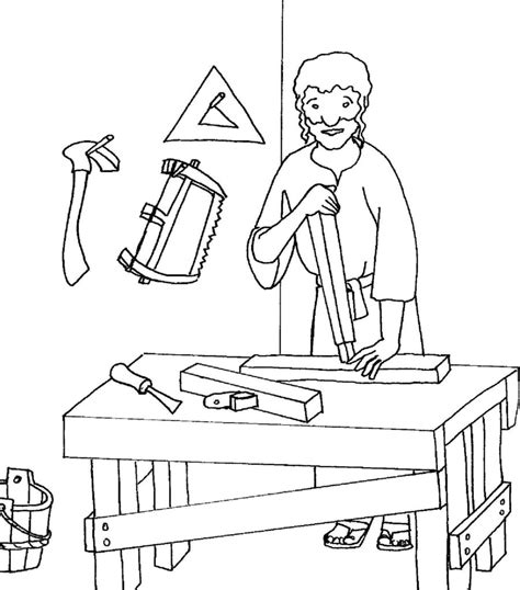 Coloring Pages Of Joseph The Carpenter | carpenter free colouring pages