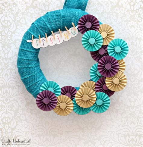 diy spring projects diy spring wreath paper rosettes crafts unleashed
