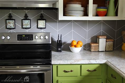 painted kitchen backsplash diy herringbone tile backsplash
