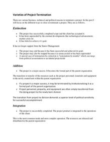 Termination Letter Format For Project Completion Project Termination