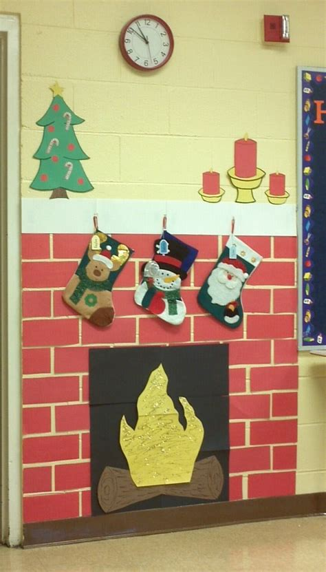 how to decorate doors and chimeny for christmas fireplace i made for my classroom