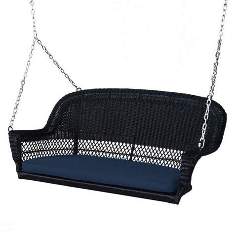 black wicker porch swing jeco wicker porch swing black w blue cushion