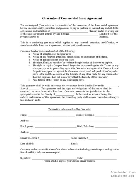 personal guarantee form for a lease agreement legalforms org