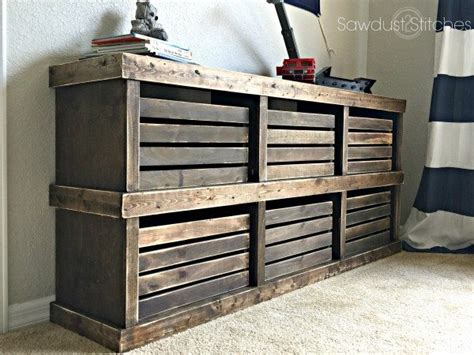 pottery barn inspired crate dresser sawdust  stitches