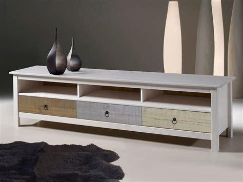 meuble tv bas en bois massif 3 tiroirs et 3 niches