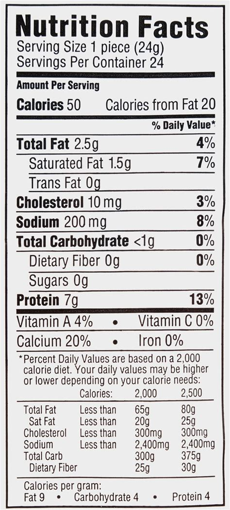 Nutritional Information Frigo String Cheese Nutrition Ftempo Light String Cheese Calories