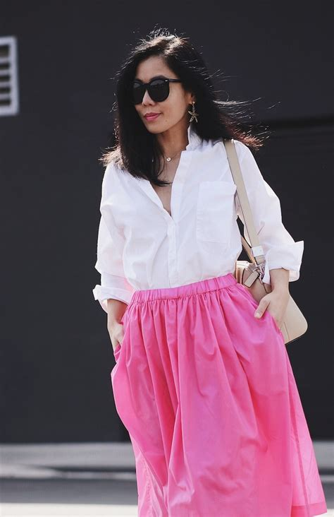 Ga2010 Sasa Pink Skirt Bajukiddie in pink oversized shirt and pink midi skirt hallie daily