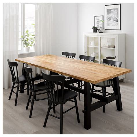norr 197 ker skogsta table and 6 chairs acacia black 235x100