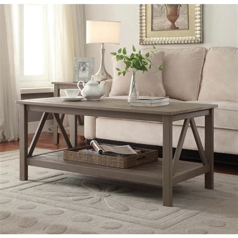 rustic grey end tables linon home decor titian rustic gray coffee table