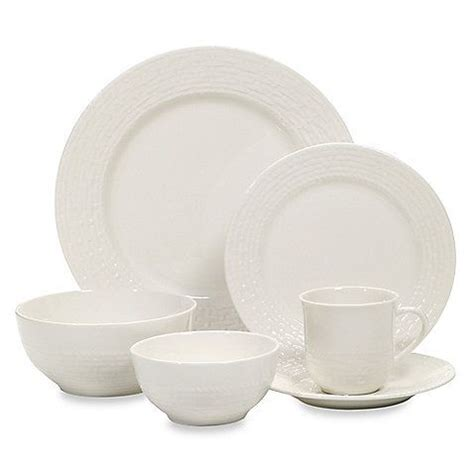 Dinnerware Sets Bed Bath And Beyond Bed Bath Beyond Gibson Noble Weave 48 Stoneware Dinnerware Set In White 99 99