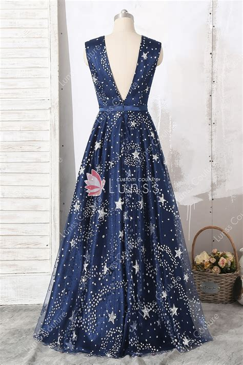 Navy Glitter Star Straps Plunging Floor Length A line Prom