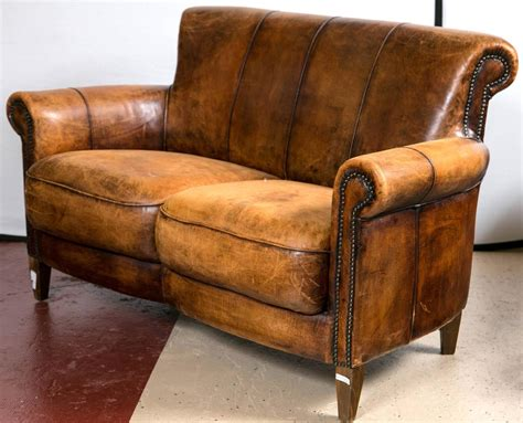 worn leather sofa vintage distressed deco leather sofa at 1stdibs