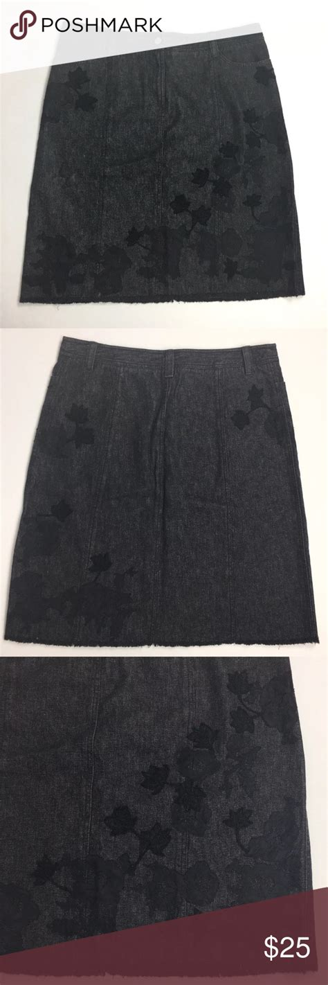 saks  avenue black denim jean skirt  skirt