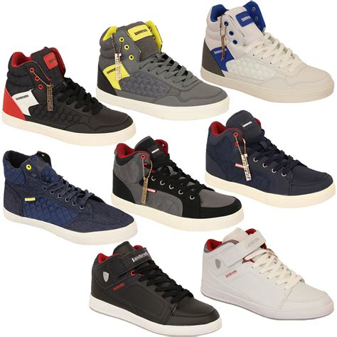 high top designer sneakers mens trainers lambretta pumps hi top shoes velcro lace up