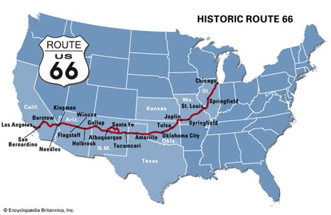 map of route 66 route 66 britannica