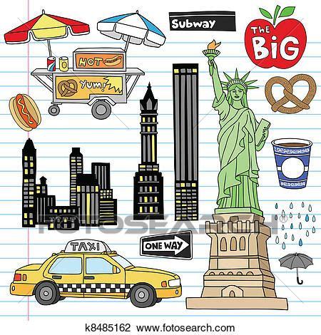 graphics design nyc clipart of new york city doodles vector set k8485162