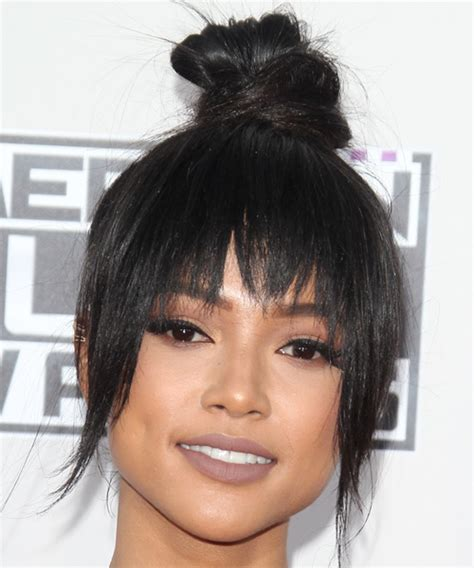 what hair products does karruche tran use karrueche tran long straight casual updo hairstyle with