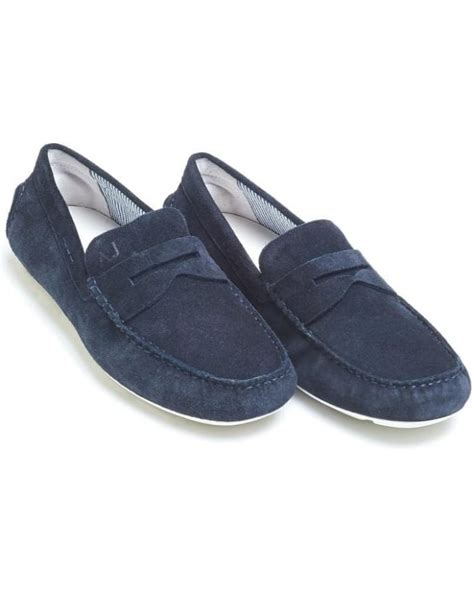 Shoe Loafer Fashion Armani B15 armani mens driving shoes navy blue suede loafers