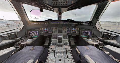 cabina di pilotaggio airbus a380 cabina en 360 176 grandioso airbus a380 ing aeronautica