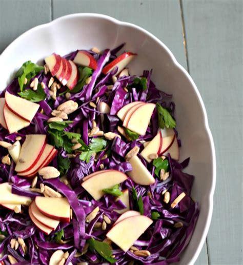 purple cabbage apple salad  lemon tahini dressing cabbage based salads kosher recipe