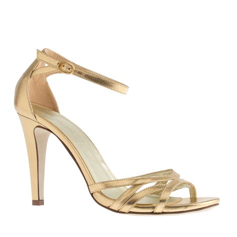 j crew gold sandals j crew metallic leather high heel sandals in metallic lyst