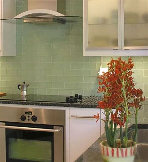 green glass tiles for kitchen backsplashes sle of lush surf pale green 3x6 glass subway tile
