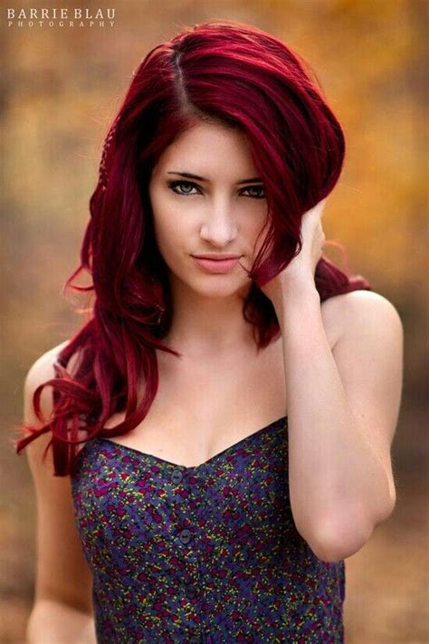 haircolor brand that has cherry cola color bright red hair curled no bangs coolness pinterest