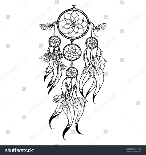 dream catcher doodle doodle dreamcatcher feather decoration isolated on stock