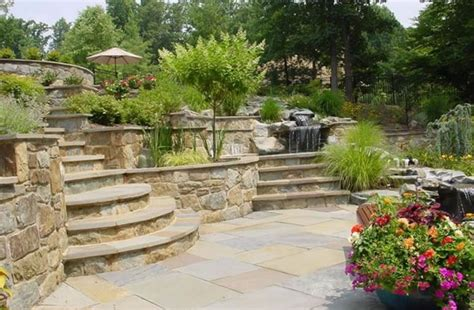 terracing a sloped backyard backyard landscaping fulton md photo gallery