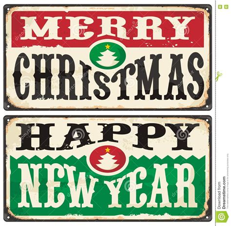 new year year signs merry and happy new year vintage signs set stock