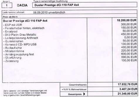 Auto Kaufvertrag Bernahme by Kaufvertrag 220 Bernahme Kaufvertrag Dacia Duster Prestige