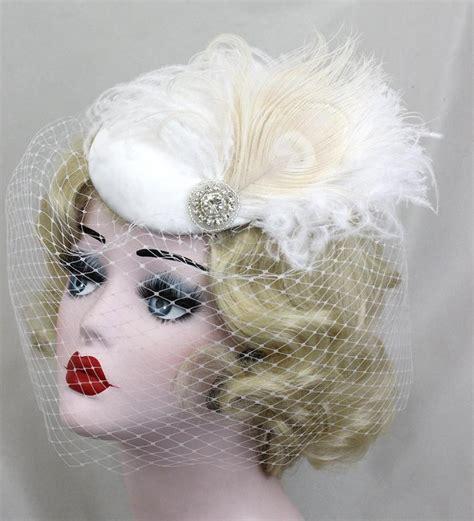 Feather Wedding Veil white wedding veil ivory feather fascinator birdcage
