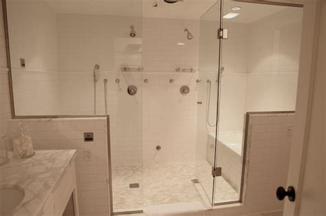 shared shower between two bathrooms his and shower heads transitional bathroom angie