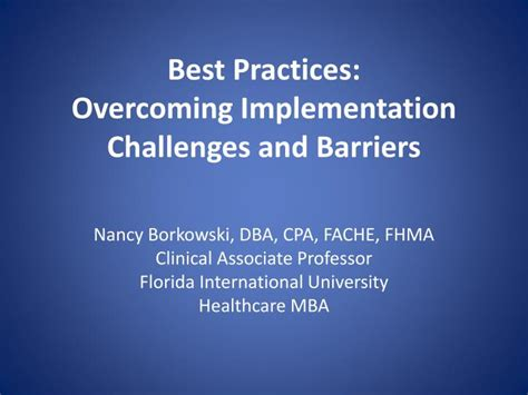 Healthcare Mba Canada by Ppt Best Practices Overcoming Implementation Challenges