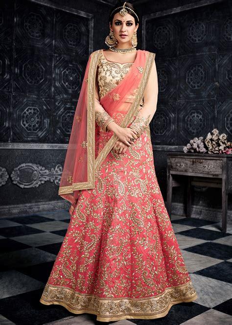Kaftan Bordir Abu Dhabi pink silk bridal lehenga choli with dupatta lehenga