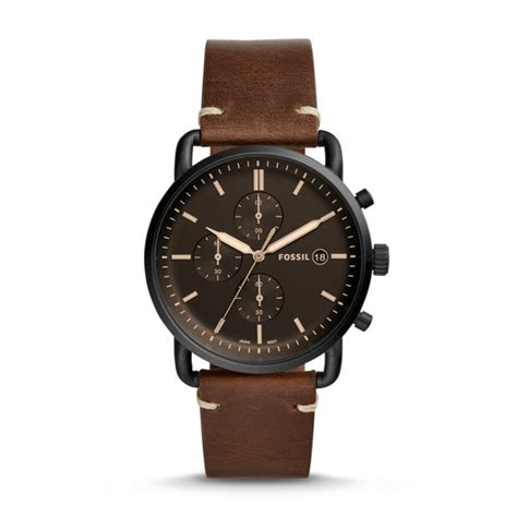 Fossil Fs 5000 Chronograph the commuter chronograph brown leather fossil