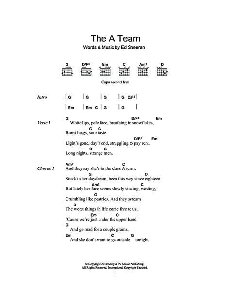 ed sheeran easy chords the a team sheet music by ed sheeran lyrics chords