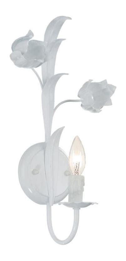 Slopy White 1 crystorama white southport 1 light candle style floral wall sconce white 4811 ww from