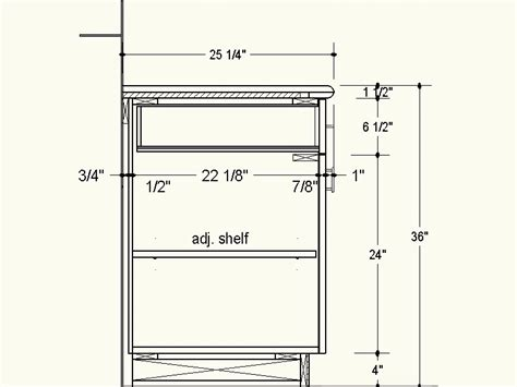 kitchen base cabinet depth proper depth for frameless cabinets