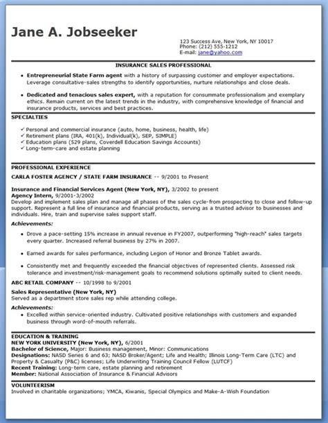 sles of resume resume wording insurance sales
