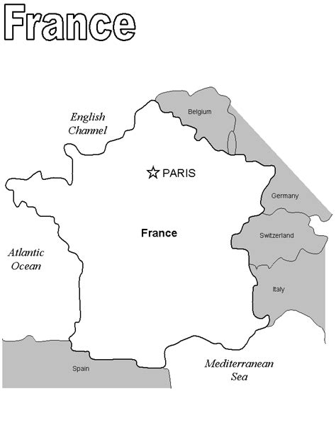Coloring Page Map Of France   france map free colouring pages