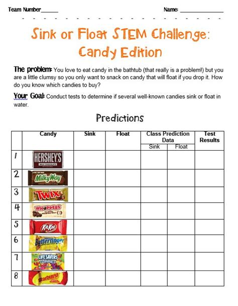 Or Challenge Stem Challenge Sink Or Float Candies Scholastic