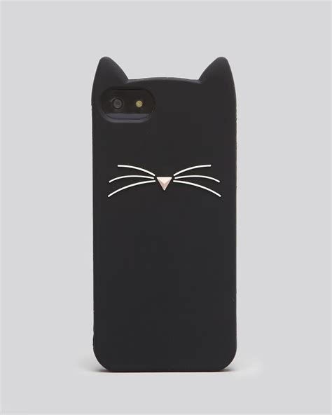 Hello Silicone For Iphone 55s lyst kate spade new york iphone 55s silicone black cat in black