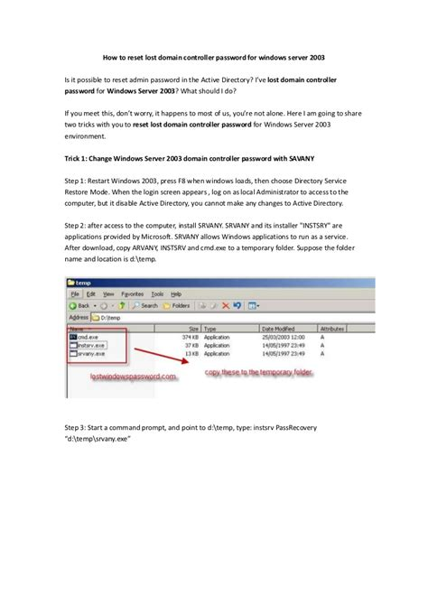 resetting windows server 2003 administrator password how to reset lost domain controller password for windows